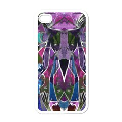 Sly Dog Modern Grunge Style Blue Pink Violet Apple Iphone 4 Case (white)
