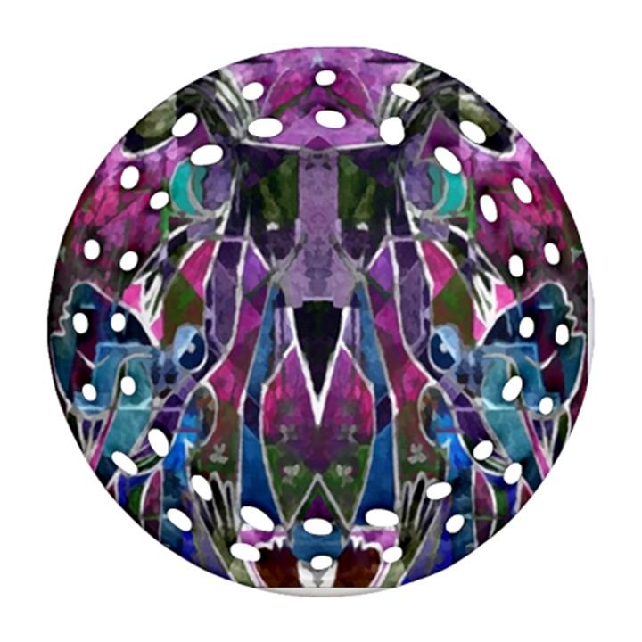 Sly Dog Modern Grunge Style Blue Pink Violet Round Filigree Ornament (2Side)