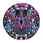 Sly Dog Modern Grunge Style Blue Pink Violet Round Filigree Ornament (2Side) Back