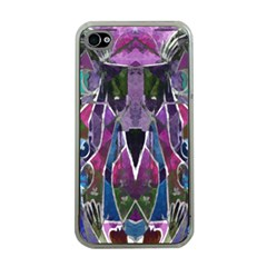 Sly Dog Modern Grunge Style Blue Pink Violet Apple iPhone 4 Case (Clear)