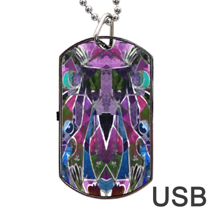 Sly Dog Modern Grunge Style Blue Pink Violet Dog Tag USB Flash (One Side)