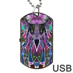 Sly Dog Modern Grunge Style Blue Pink Violet Dog Tag USB Flash (Two Sides)