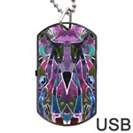 Sly Dog Modern Grunge Style Blue Pink Violet Dog Tag USB Flash (Two Sides)  Front