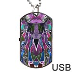 Sly Dog Modern Grunge Style Blue Pink Violet Dog Tag USB Flash (Two Sides)  Back