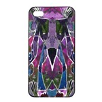 Sly Dog Modern Grunge Style Blue Pink Violet Apple iPhone 4/4s Seamless Case (Black) Front