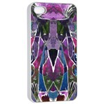 Sly Dog Modern Grunge Style Blue Pink Violet Apple iPhone 4/4s Seamless Case (White) Front