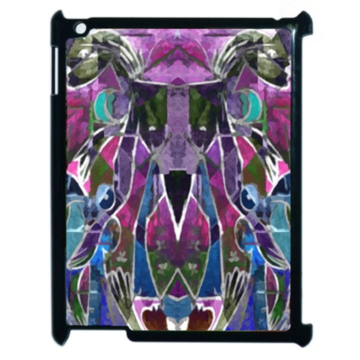 Sly Dog Modern Grunge Style Blue Pink Violet Apple iPad 2 Case (Black)