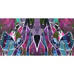 Sly Dog Modern Grunge Style Blue Pink Violet Twin Hearts 3D Greeting Card (8x4) Front