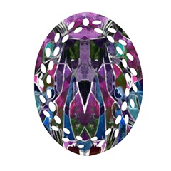 Sly Dog Modern Grunge Style Blue Pink Violet Oval Filigree Ornament (2-Side)