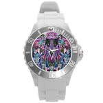Sly Dog Modern Grunge Style Blue Pink Violet Round Plastic Sport Watch (L) Front