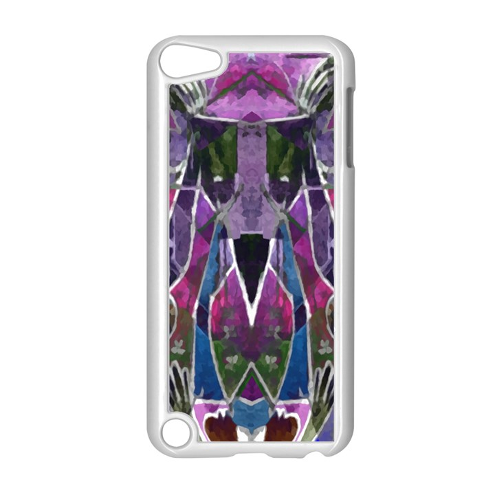 Sly Dog Modern Grunge Style Blue Pink Violet Apple iPod Touch 5 Case (White)