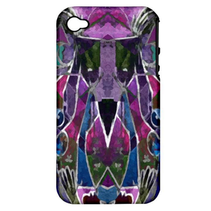 Sly Dog Modern Grunge Style Blue Pink Violet Apple iPhone 4/4S Hardshell Case (PC+Silicone)