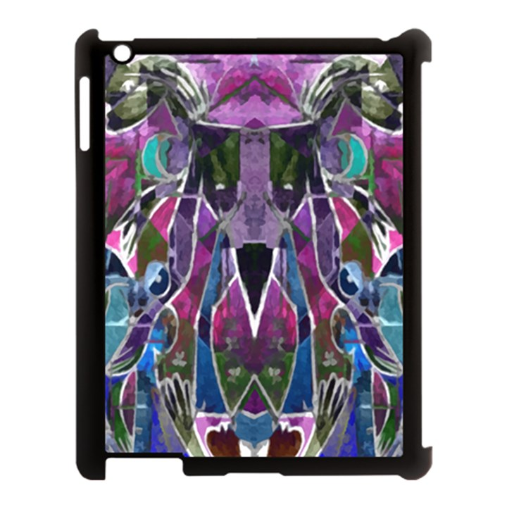 Sly Dog Modern Grunge Style Blue Pink Violet Apple iPad 3/4 Case (Black)