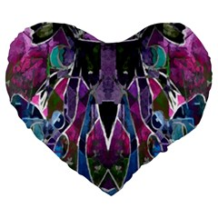 Sly Dog Modern Grunge Style Blue Pink Violet Large 19  Premium Heart Shape Cushions