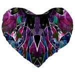 Sly Dog Modern Grunge Style Blue Pink Violet Large 19  Premium Heart Shape Cushions Front