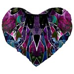 Sly Dog Modern Grunge Style Blue Pink Violet Large 19  Premium Heart Shape Cushions Back