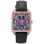 Sly Dog Modern Grunge Style Blue Pink Violet Rose Gold Leather Watch  Front