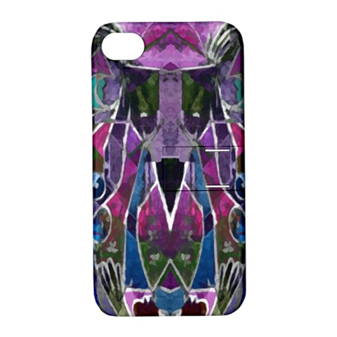 Sly Dog Modern Grunge Style Blue Pink Violet Apple iPhone 4/4S Hardshell Case with Stand