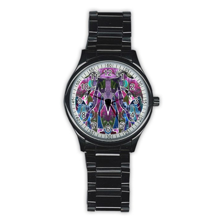 Sly Dog Modern Grunge Style Blue Pink Violet Stainless Steel Round Watch
