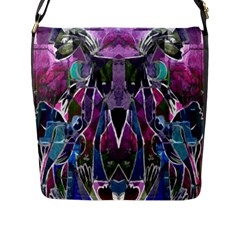 Sly Dog Modern Grunge Style Blue Pink Violet Flap Messenger Bag (l)