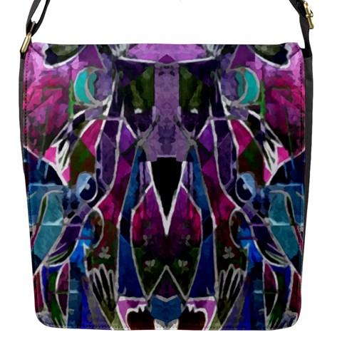 Sly Dog Modern Grunge Style Blue Pink Violet Flap Messenger Bag (S)