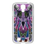 Sly Dog Modern Grunge Style Blue Pink Violet Samsung GALAXY S4 I9500/ I9505 Case (White) Front