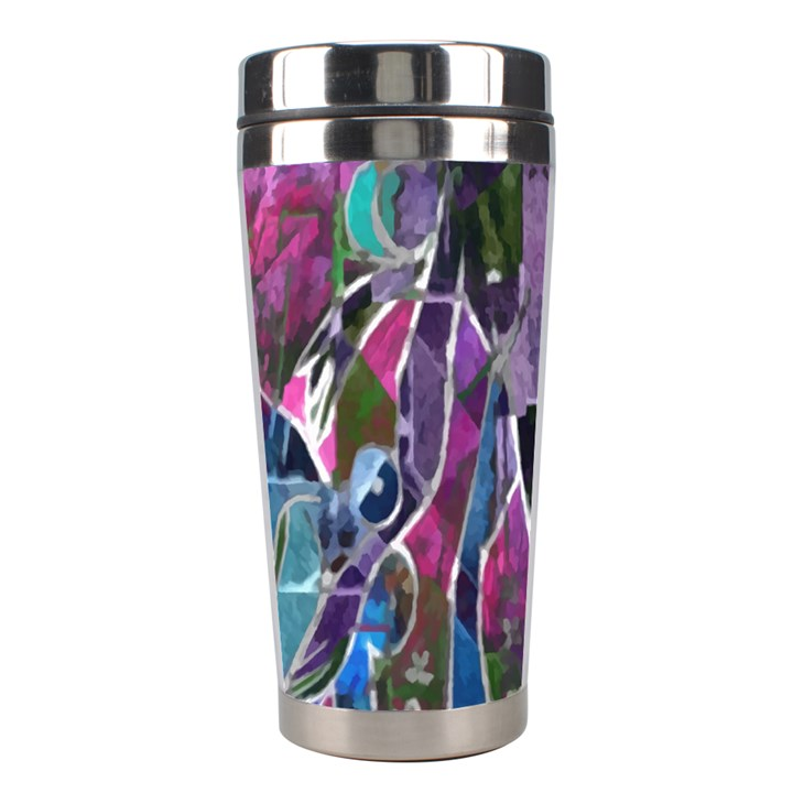 Sly Dog Modern Grunge Style Blue Pink Violet Stainless Steel Travel Tumblers
