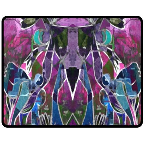 Sly Dog Modern Grunge Style Blue Pink Violet Double Sided Fleece Blanket (Medium)