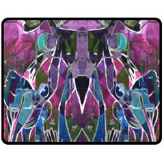 Sly Dog Modern Grunge Style Blue Pink Violet Double Sided Fleece Blanket (medium)