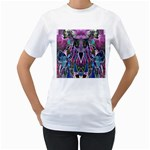 Sly Dog Modern Grunge Style Blue Pink Violet Women s T-Shirt (White)  Front