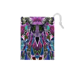 Sly Dog Modern Grunge Style Blue Pink Violet Drawstring Pouches (Small)