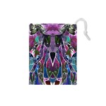 Sly Dog Modern Grunge Style Blue Pink Violet Drawstring Pouches (Small)  Front