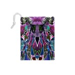 Sly Dog Modern Grunge Style Blue Pink Violet Drawstring Pouches (Small)  Back
