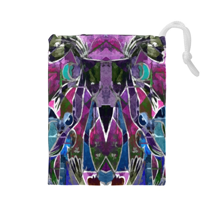 Sly Dog Modern Grunge Style Blue Pink Violet Drawstring Pouches (Large)