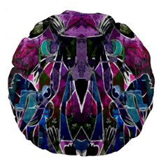 Sly Dog Modern Grunge Style Blue Pink Violet Large 18  Premium Flano Round Cushions