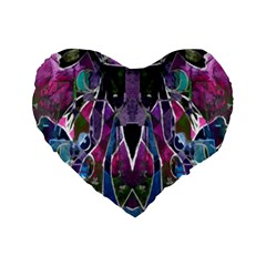 Sly Dog Modern Grunge Style Blue Pink Violet Standard 16  Premium Flano Heart Shape Cushions
