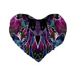 Sly Dog Modern Grunge Style Blue Pink Violet Standard 16  Premium Flano Heart Shape Cushions Front