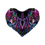 Sly Dog Modern Grunge Style Blue Pink Violet Standard 16  Premium Flano Heart Shape Cushions Back