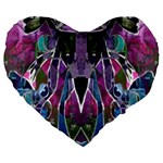 Sly Dog Modern Grunge Style Blue Pink Violet Large 19  Premium Flano Heart Shape Cushions Front