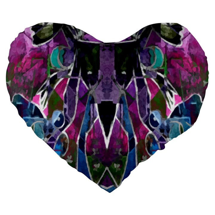 Sly Dog Modern Grunge Style Blue Pink Violet Large 19  Premium Flano Heart Shape Cushions