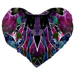 Sly Dog Modern Grunge Style Blue Pink Violet Large 19  Premium Flano Heart Shape Cushions Back