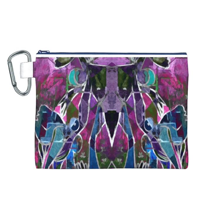 Sly Dog Modern Grunge Style Blue Pink Violet Canvas Cosmetic Bag (L)