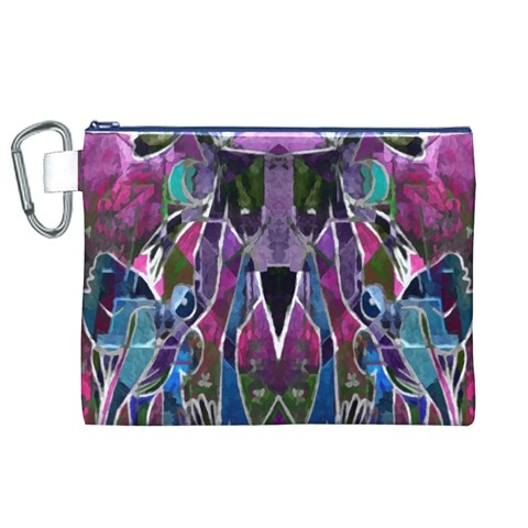 Sly Dog Modern Grunge Style Blue Pink Violet Canvas Cosmetic Bag (XL)