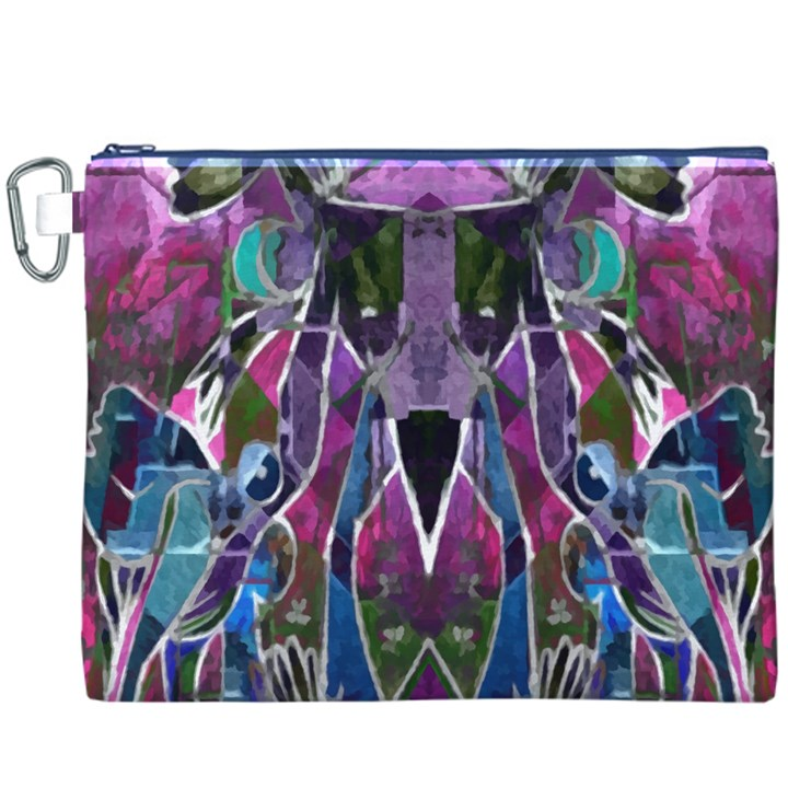 Sly Dog Modern Grunge Style Blue Pink Violet Canvas Cosmetic Bag (XXXL)