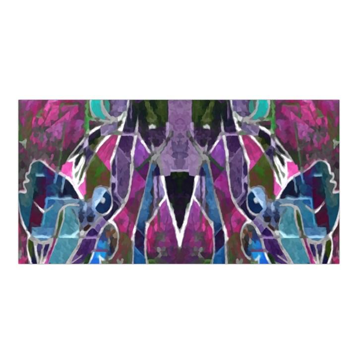 Sly Dog Modern Grunge Style Blue Pink Violet Satin Shawl