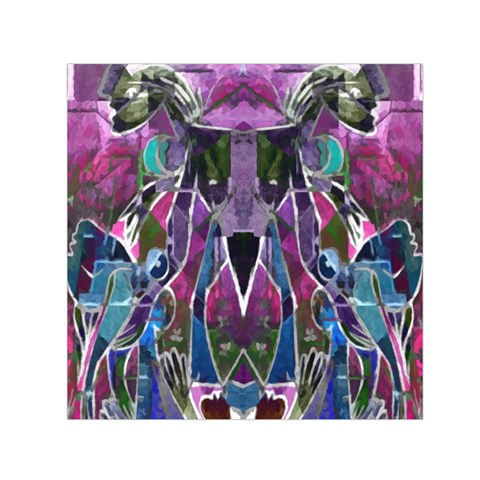 Sly Dog Modern Grunge Style Blue Pink Violet Small Satin Scarf (Square)