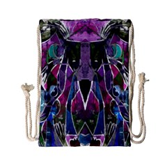 Sly Dog Modern Grunge Style Blue Pink Violet Drawstring Bag (small)
