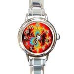 Crazy Mandelbrot Fractal Red Yellow Turquoise Round Italian Charm Watch Front