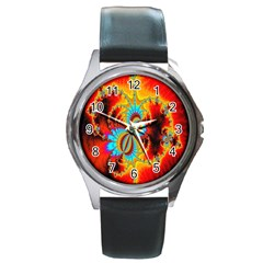 Crazy Mandelbrot Fractal Red Yellow Turquoise Round Metal Watch