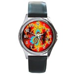 Crazy Mandelbrot Fractal Red Yellow Turquoise Round Metal Watch Front